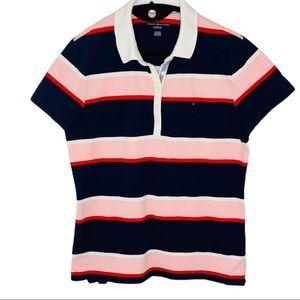 Tommy Hilfiger navy red white & pink strip…